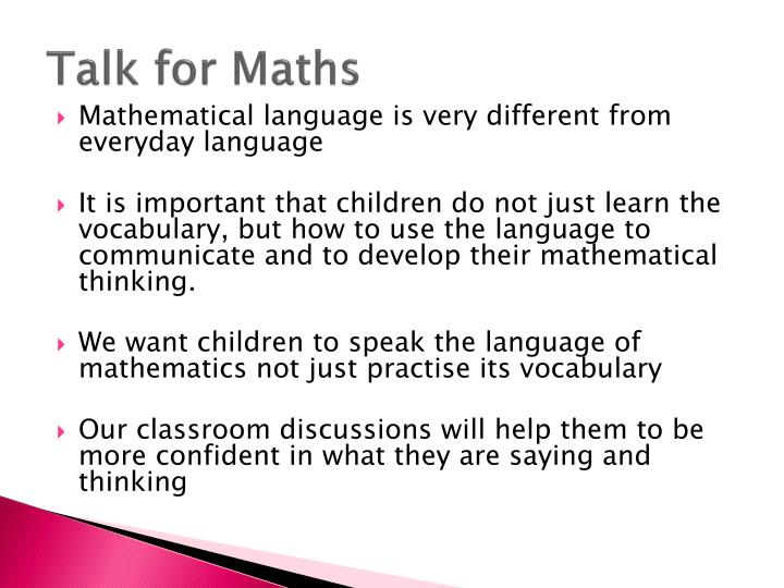 Talk for Maths