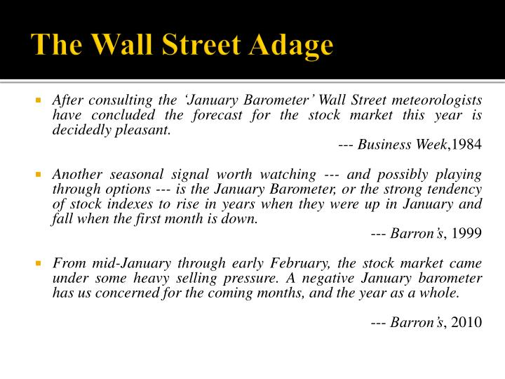 The wall street adage