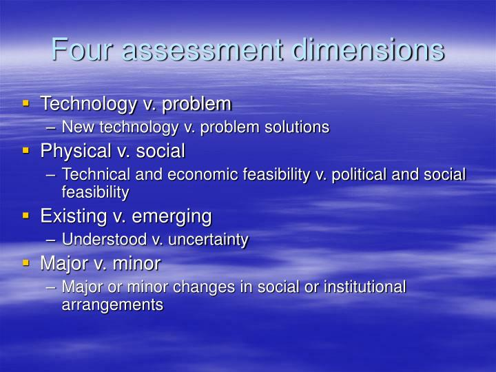 Four assessment dimensions