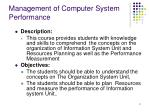 management of computer system performance2
