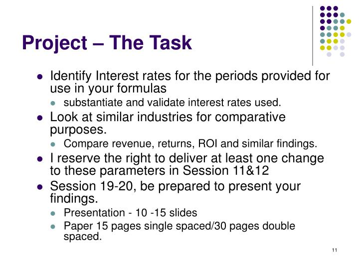Project – The Task
