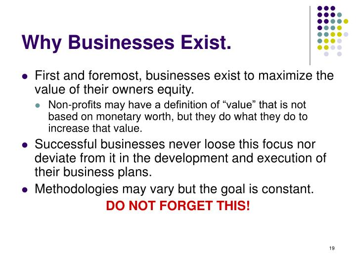 Why Businesses Exist.