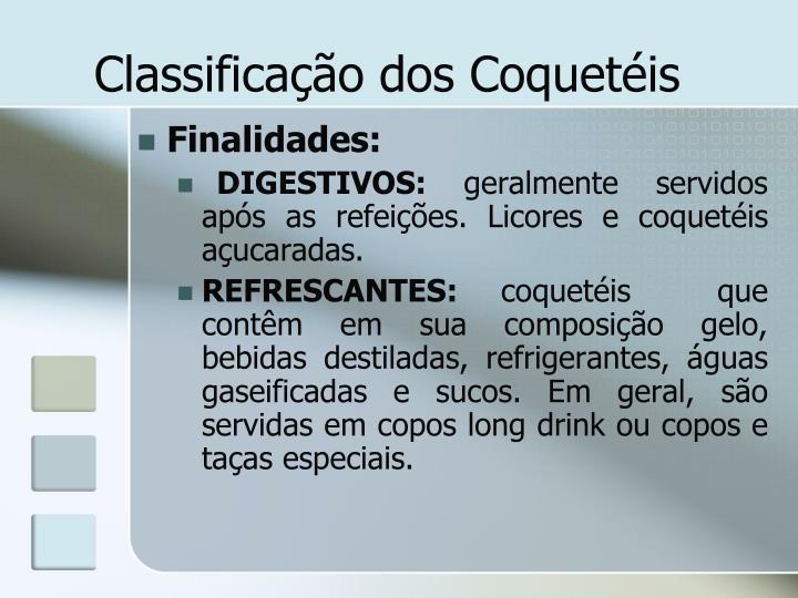 Classificação dos Coquetéis