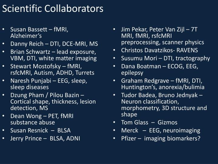 Scientific collaborators