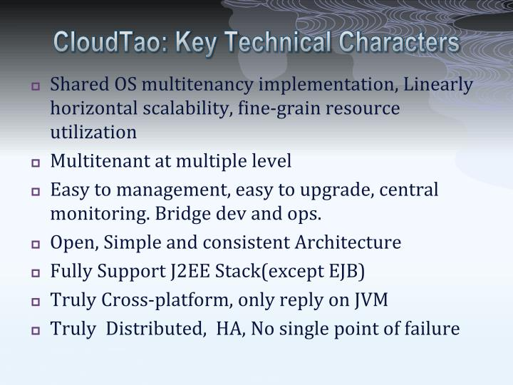 CloudTao: Key Technical Characters