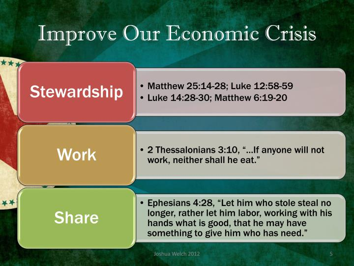Improve Our Economic Crisis