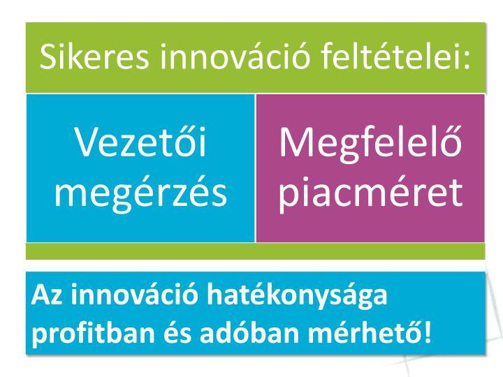 Az innováció hatékonysága profitban és adóban mérhető!