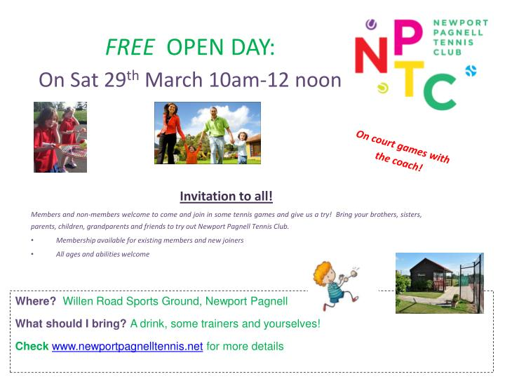 Free open day on sat 29 th march 10am 12 noon