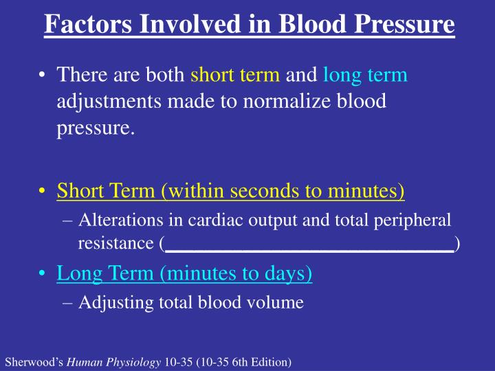 Factors Involved in Blood Pressure