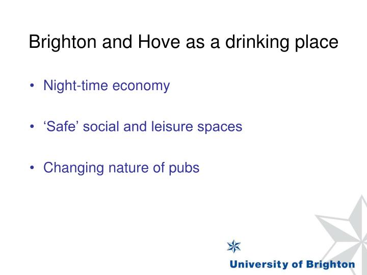 Brighton and Hove as a drinking place