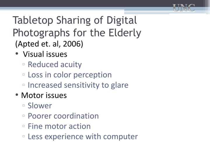 Tabletop Sharing of Digital Photographs for the Elderly