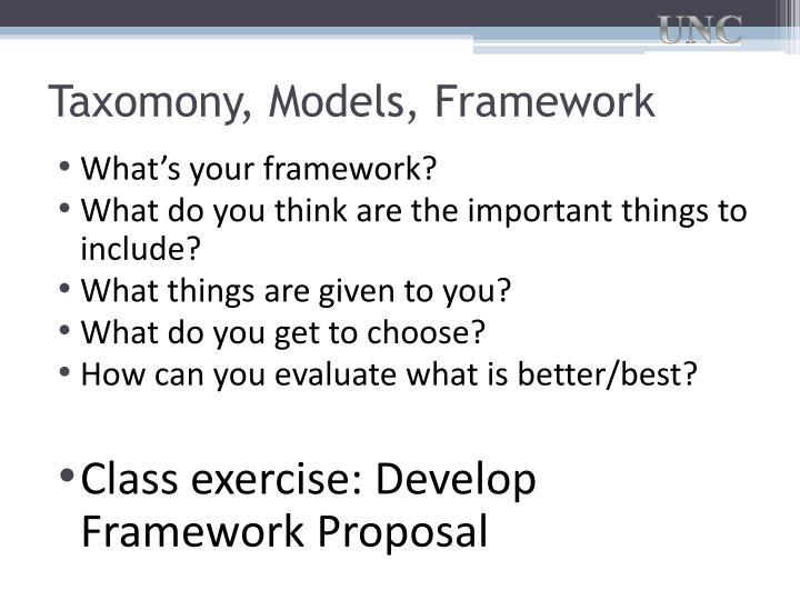 Taxomony, Models, Framework