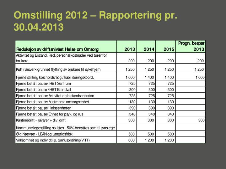 Omstilling 2012 – Rapportering pr. 30.04.2013