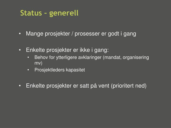 Status – generell