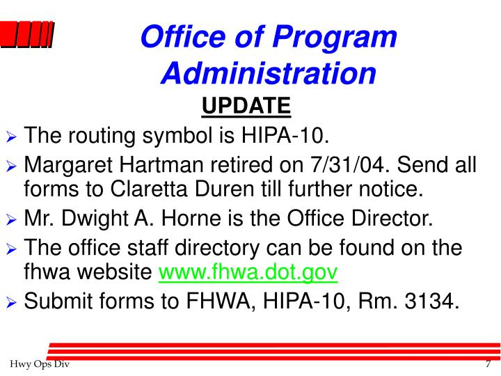 Office of Program Administration