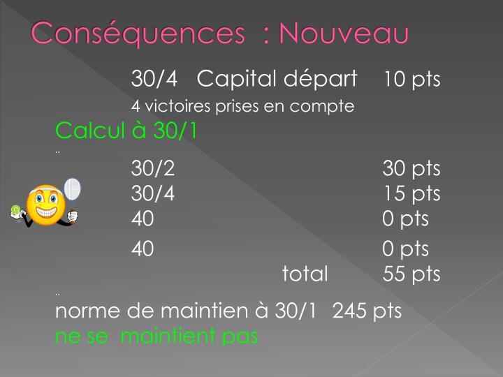 Conséquences  : Nouveau