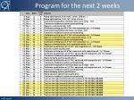 program for the next 2 weeks