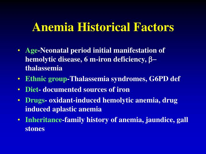 Anemia Historical Factors