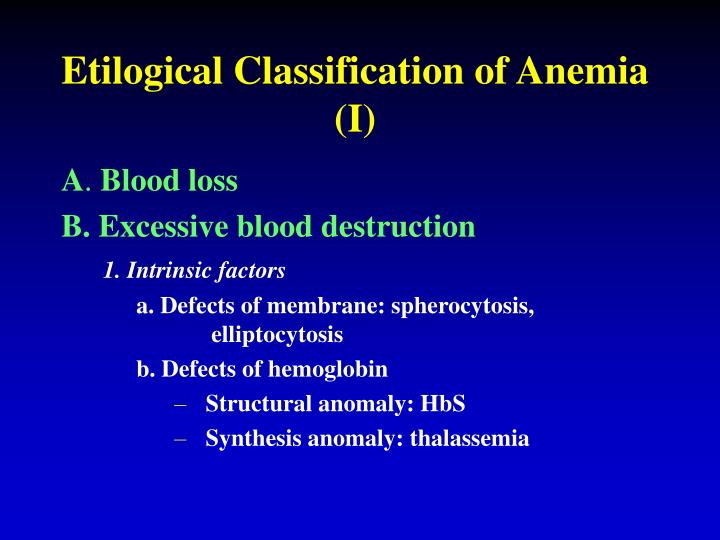 Etilogical Classification of Anemia (I)