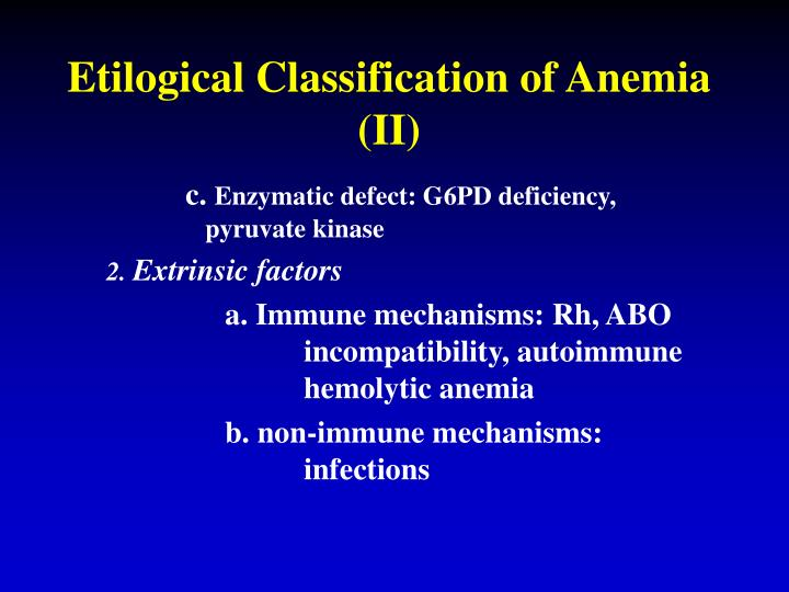 Etilogical Classification of Anemia (II)
