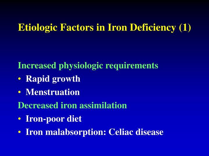 Etiologic Factors in Iron Deficiency (1)