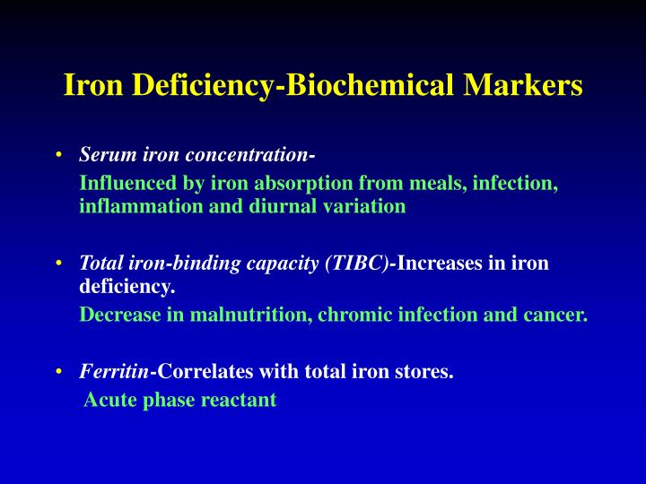 Iron Deficiency-Biochemical Markers