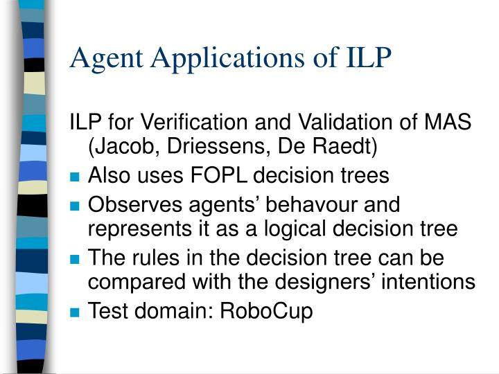Agent Applications of ILP