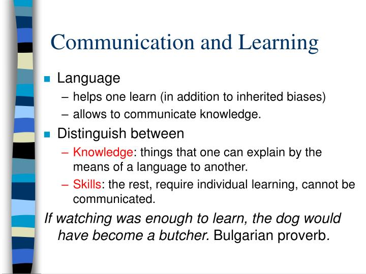 Communication and Learning