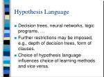 hypothesis language