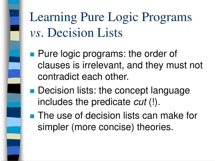 Learning Pure Logic Programs