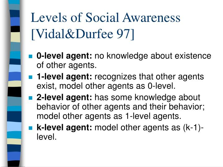 Levels of Social Awareness [Vidal&Durfee 97]