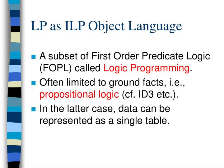 LP as ILP Object Language