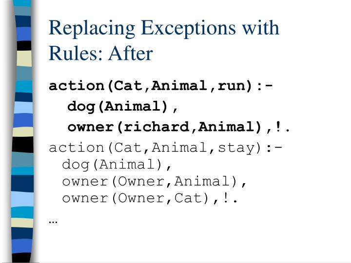 Replacing Exceptions with Rules: After