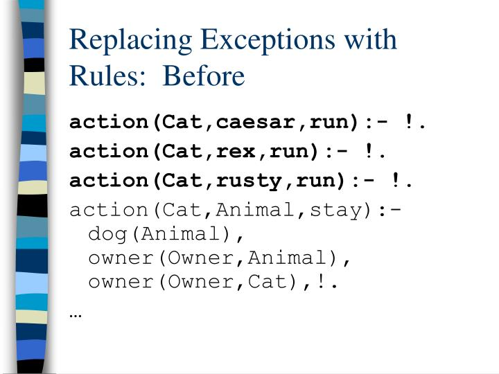 Replacing Exceptions with Rules:  Before