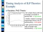 timing analysis of ilp theories example