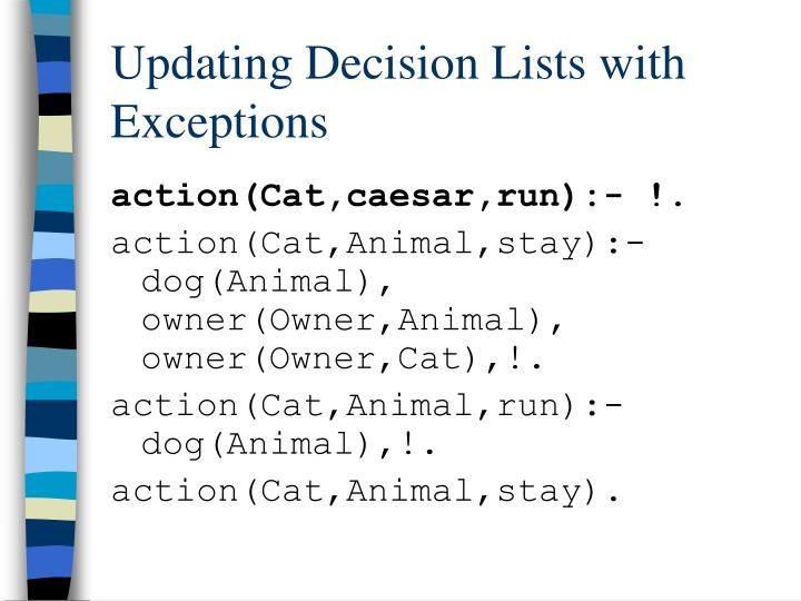 Updating Decision Lists with Exceptions