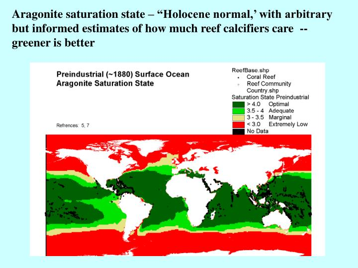 "Aragonite saturation state – ""Holocene normal,' with arbitrary but informed estimates of how much reef calcifiers care  -- greener is better"