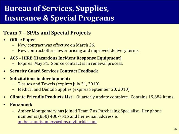 Bureau of Services, Supplies,