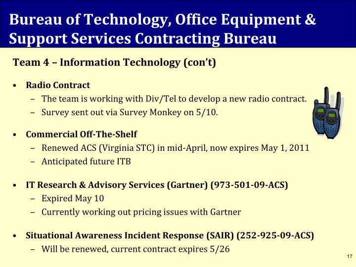 Bureau of Technology, Office Equipment & Support Services Contracting Bureau