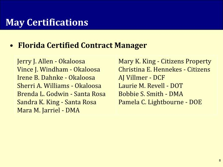 May Certifications