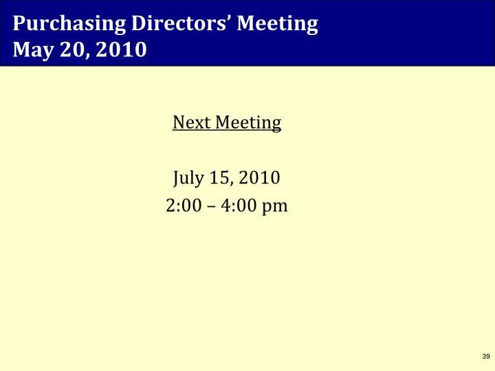 Purchasing Directors' Meeting