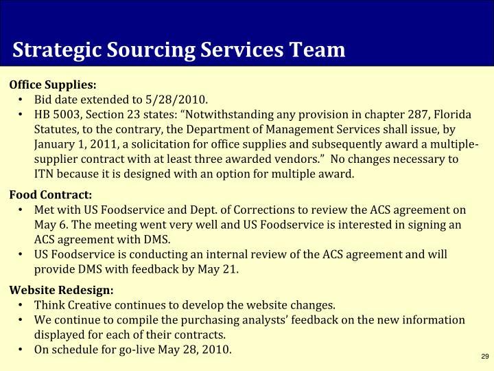 Strategic Sourcing Services Team