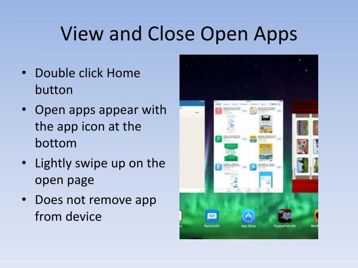View and Close Open Apps