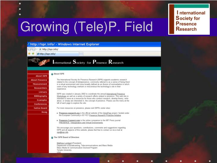 Growing (Tele)P. Field