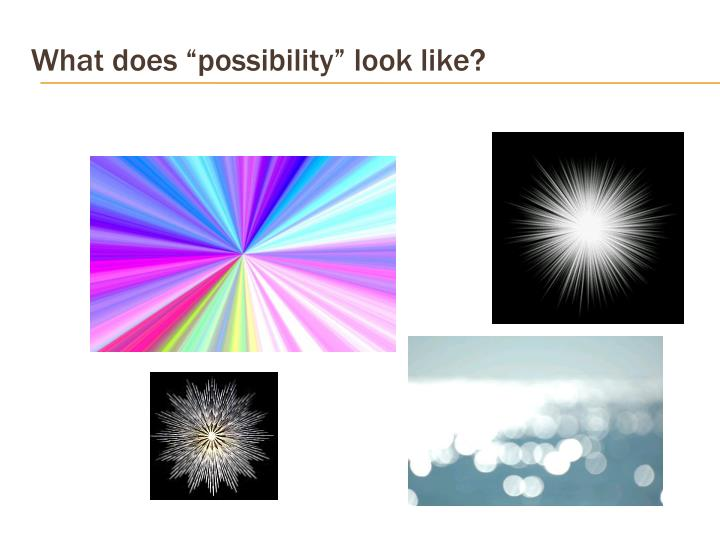 "What does ""possibility"" look like?"