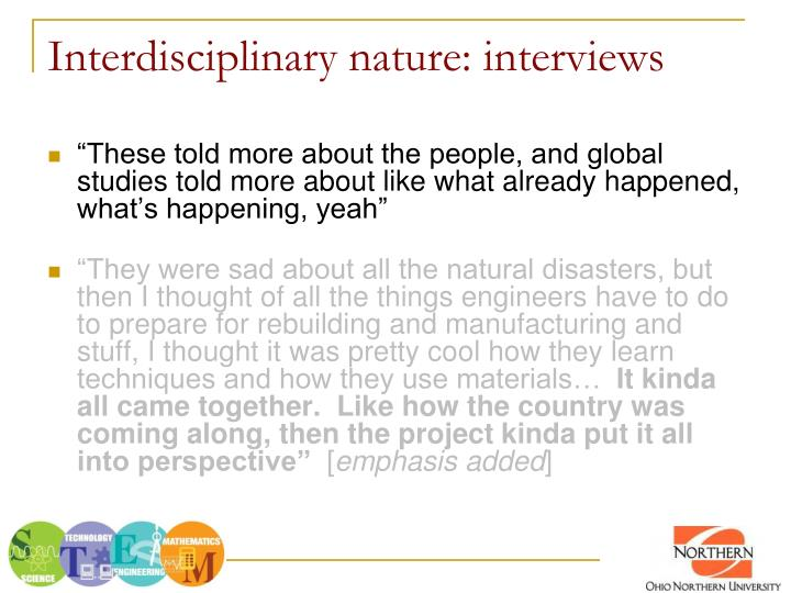 Interdisciplinary nature: interviews