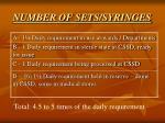 number of sets syringes