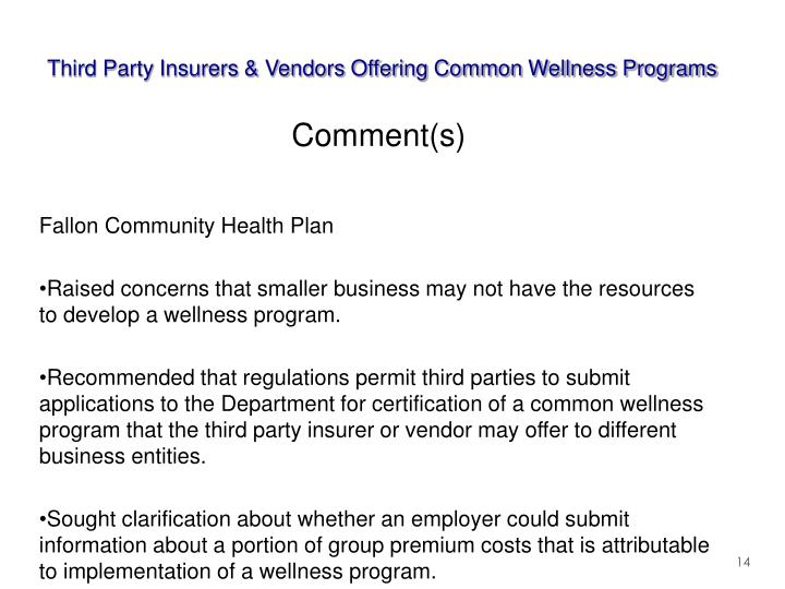 Third Party Insurers & Vendors Offering Common Wellness Programs