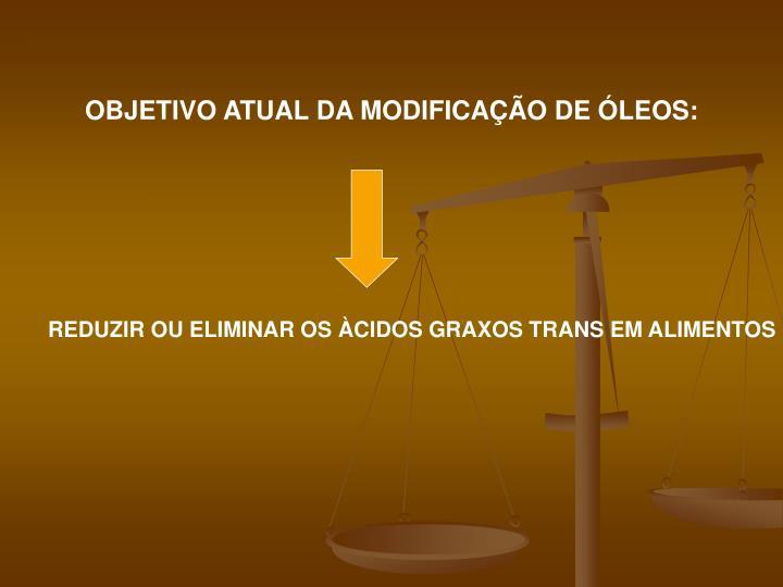 OBJETIVO ATUAL DA MODIFICAÇÃO DE ÓLEOS:
