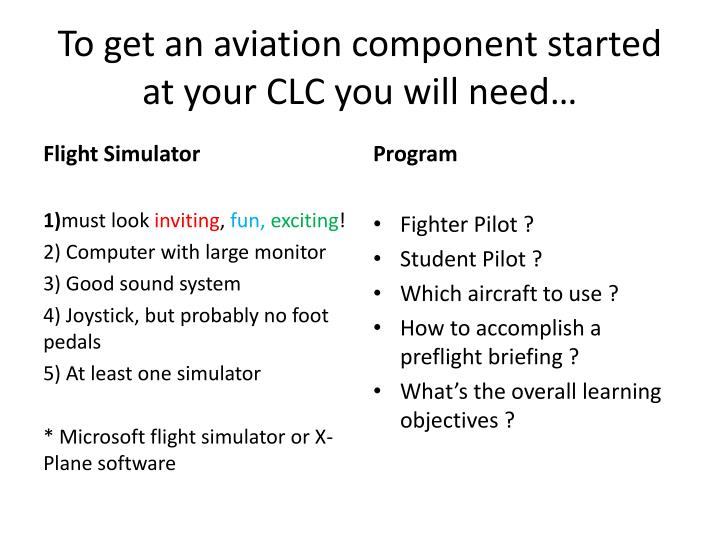 To get an aviation component started at your CLC you will need…